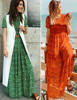 ZARA RED GREEN FLORAL PRINT Ruffled FRILL HEM SMOCK BOHO FLOWING MAXI LONG DRESS