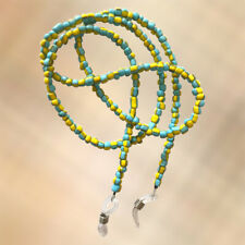 NEW Macaw Blue & Yellow Glass Seed Bead Beaded Glasses / Sunglasses Strap Chain