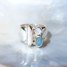 Opal Dublette Ring, 925er Silber, Edelsteinring (21962), mit Mondstein, Perle