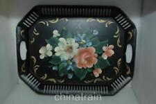 Vintage Antique Hand Painted Pierced Art Gift Tin Tole Serving Tray 18x13.5