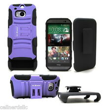 HTC One M8 case and Belt Clip Holster with stand Black Purple on Black