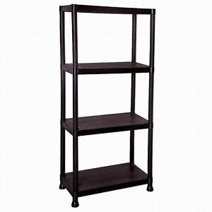 4 Tier Black Plastic Shelving Shelves Racking Storage Shelf Unit New