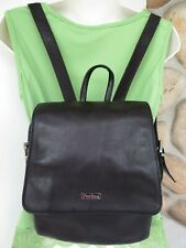 Perlina ~All Genuine Leather Black Backpack ~3 Compartment Travel Bag ~Excellent