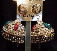 Bollywood Diwali Gimmiki Indian Designer Pierced Earrings Silver Jhumka E134