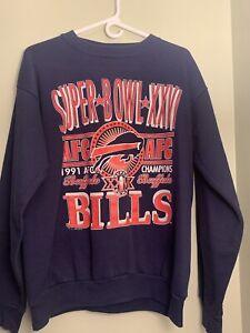 Vintage Buffalo Bills Sweatshirt 1991 NFL Super Bowl XXVI Size Large Sweater