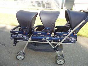BLUE 3 SEAT PEG PEREGO TRIPLETTE STROLLER