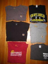 Men Set of 4 Carhartt Tee Shirts L Red Gray Black Brown + 2 More Black  Charcoal