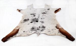 """Rare Cowhide Rugs Calf Hide Cow Skin Rug (29""""x37"""") White Black Brown CH8317"""