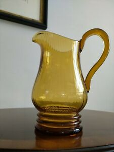 Art Deco Amber Glass Jug Pitcher 1920s 1930s