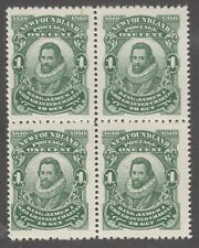 Newfoundland No. .87b Mint Never Hinged Very Fine Block of 4 Perf 12x14