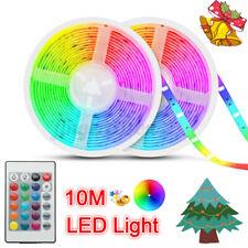 32FT Flexible Strip Light 3528 RGB LED SMD Remote Fairy Lights Room TV   J