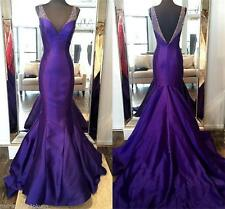 Long Purple Beaded Mermaid Prom Evening Dresses V Neck Pageant Party Formal Gown