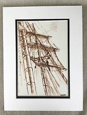Rare Original Pen & Ink Drawing Schooner Shenandoah Tall Ship Mast Sail Rigging