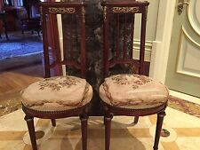 MAGNIFICENT PAIR OF 19TH CENTURY FRENCH LOUIS 16 ABOUSAN BRONZE CHAIRS