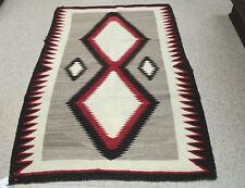 "Antique c1920 Navajo Rug: Diamonds Pattern 58"" x 38"", handcarded grey, brick red"