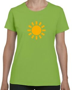 WEATHER SYMBOL SUNNY LADIES FITTED T-SHIRT (Gildan Brand happy sun summer smile)