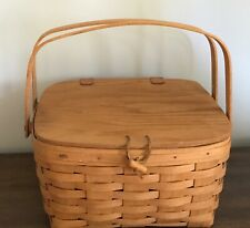 1995 Signed Longaberger Small Cake/Picnic Basket with Protector