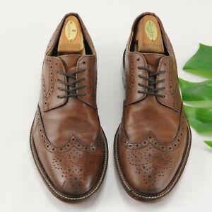 Banana Republic 10 M Hadley Oxford Dress Shoe Wingtip Brown Cognac Italy Leather