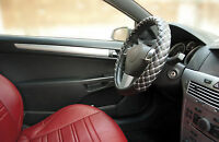 Genuine Sumex Soft Car Steering Wheel Sleeve Cover - Black with White Stitch #78