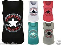 New Womens Vest Top Converse Logo Print Ladies Sleeveless Racer Muscle T-Shirt