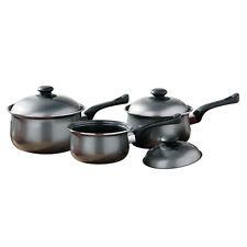 3 Piece Non Stick Carbon Steel Kitchen Cookware Silver Saucepan Pans Pot Set Lid