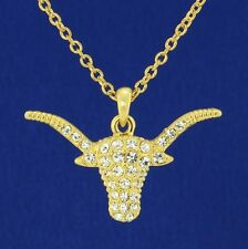 "Bull Cow Bulls Cattle W Swarovski Crystal Taurus 18"" Chain Gp Pendant Necklace"