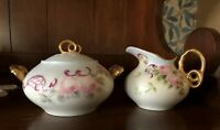 Antique Limoges Creamer and Sugar Set with Gold Circle Handles GDA France RARE