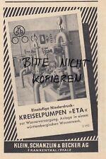 FRANKENTHAL, Werbung 1952, Klein, Schanzlin & Becker AG Kreiselpumpen