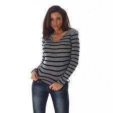 Neu Feinstrick Pulli Damen Pullover Sweater Streifen gestreift V-Ausschnitt!C428
