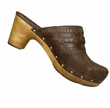UGG Australia Womens Sz 9 Vivica Clog Brown Woven Leather Lined Wooden Heel 1952