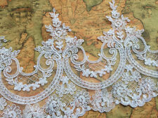 "9.5"" Wide Off White Wedding Lace Trim Venice Embroidered Cord Lace Trim 3yards"