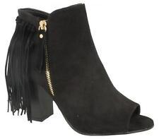 Ladies Spot On F10473 Black Peep Toe Tassle Block Heel Shoe Boots Sizes UK 3 - 8