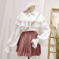 Lady Chiffon Ruffles Lolita Shirt Retro Top Long Puff Sleeve Blouse Tiers Cute