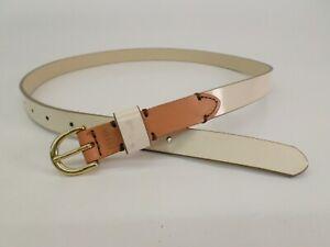 Fossil Leather Belt Medium 32 34 White Brown BT4183105