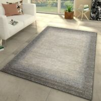 Designer Rugs New Modern Grey Beige Woven Low Pile Mat Small Large Border Carpet