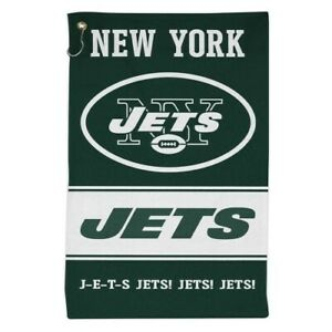 """NEW YORK JETS ALL PURPOSE GOLF TAILGATE TOWEL 16""""X25"""" HOOK AND GROMMET"""