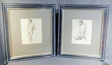 Pair Male Nude Drawings Colin Campbell Cooper FRAMED Young Men Charcoal Study 2