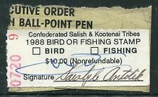 1988 FLATHEAD Bird Or Fishing Stamp - SCARCE Indian Reservation Stamp S8232