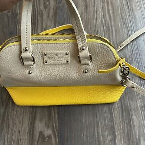 Kate Spade Colorblock Yellow Beige Pebble Leather Purse with Strap
