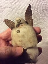 ANTIQUE GERMAN COTTON ANGEL WITH DRESDEN WINGS CHRISTMAS ORNAMENT