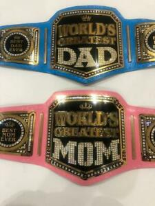 WORLD GREATEST DAD MOM WRESTLING CHAMPIONSHIP BELT ADULT SIZE BRASS/ZINC
