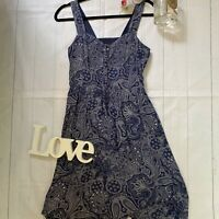 Fat Face Size 10 blue tea dress paisley summer holiday lined adjustable straps