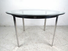 Mid-Century Modern Round Glass and Chrome Coffee Table (8536)NJ