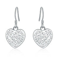 New 925 Sterling Silver Filled Filigree Love Heart Flower Hook Earrings Stunning
