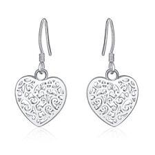 New 925 Sterling Silver Filled Filigree Love Heart Flower Hook Earrings Stunning