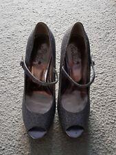 Silver glitter Mary Jane peep toe shoes - Size 5