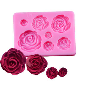 3D Roses Shaped Silicone Fondant Mould Chocolate Cake DIY Decorating Baking Mold