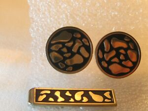Vintage Men's Swank Cuff Links & Tie Clasp Set – Animal Leopard Spots Gold tone