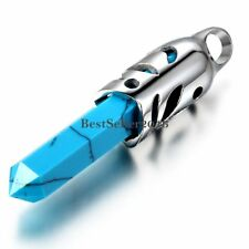 Fashion Blue Manmade Turquoise Tribal Stainless Steel Men's Pendant Necklace
