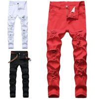 Jeans De Moda Pantalon Para Hombre Pantalones De Mezclilla Calcas Masculinas Ebay